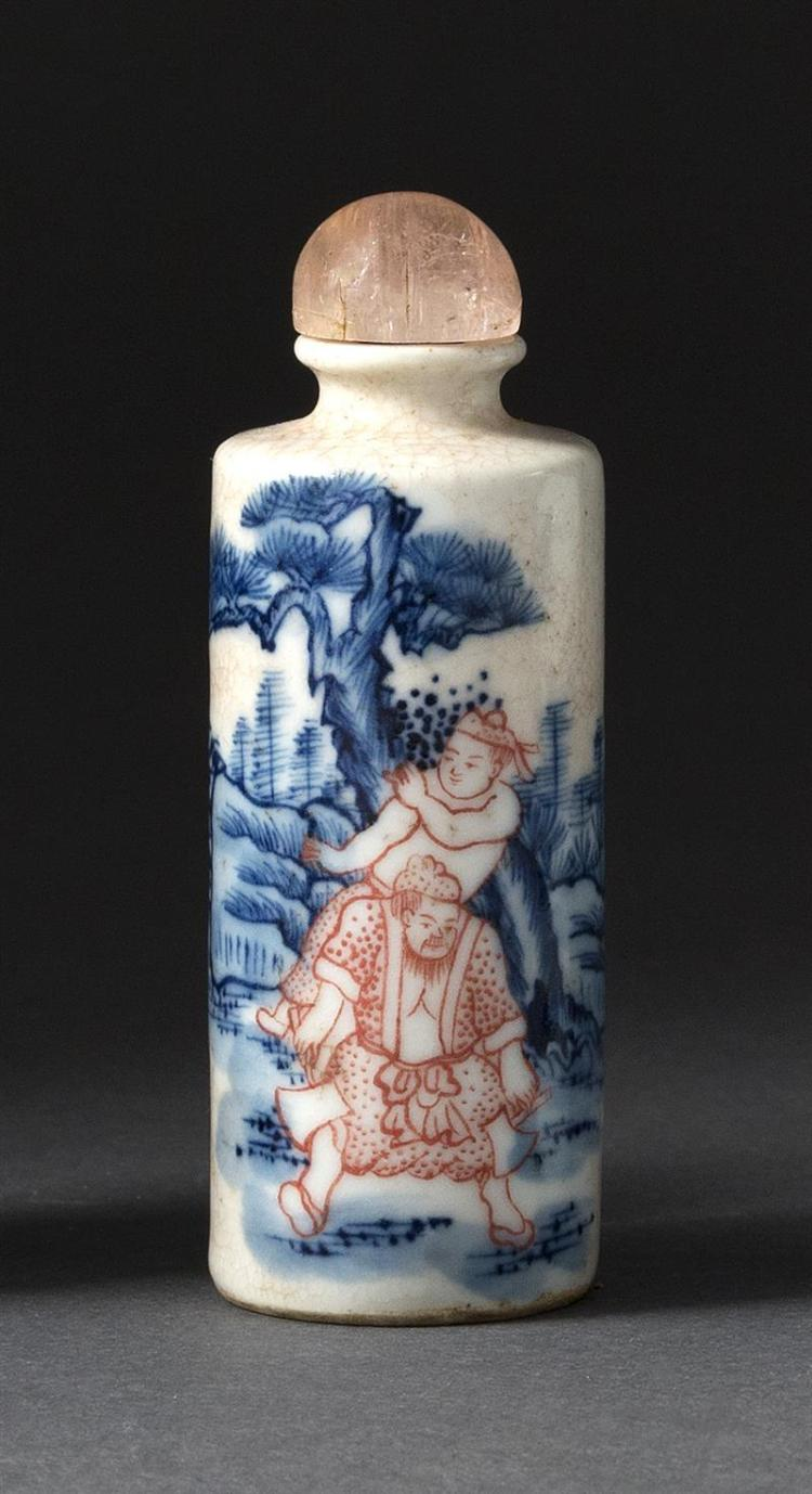 UNDERGLAZE RED AND BLUE PORCELAIN SNUFF BOTTLE With figural landscape design. Height 2.75