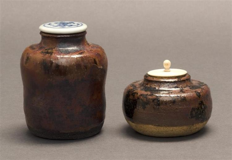 TWO CHA-IRE One with black-brown tamba glaze, height 1.75
