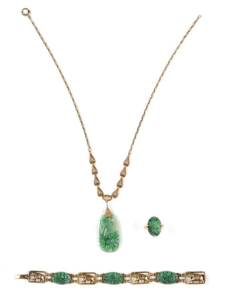 THREE PIECES OF JADE JEWELRY 1) 14kt yellow gold and jade ring in pierced floral design. 2) Jade pendant necklace with 14kt gold cha...