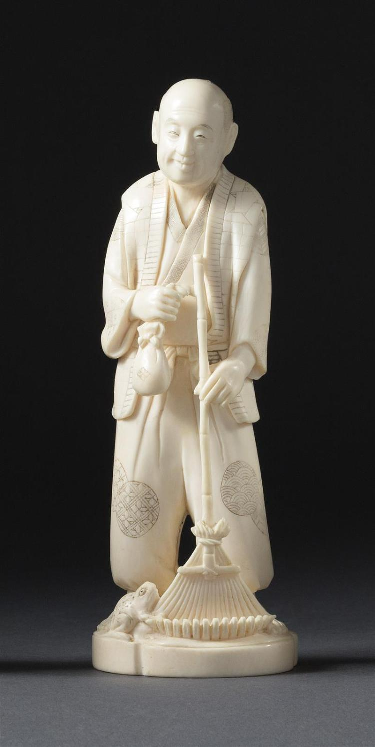 CARVED IVORY FIGURE By Shimamura Shunmei (1853-1896). Depicting Jo with his rake and a frog at his feet. Incised ink mon decoration...