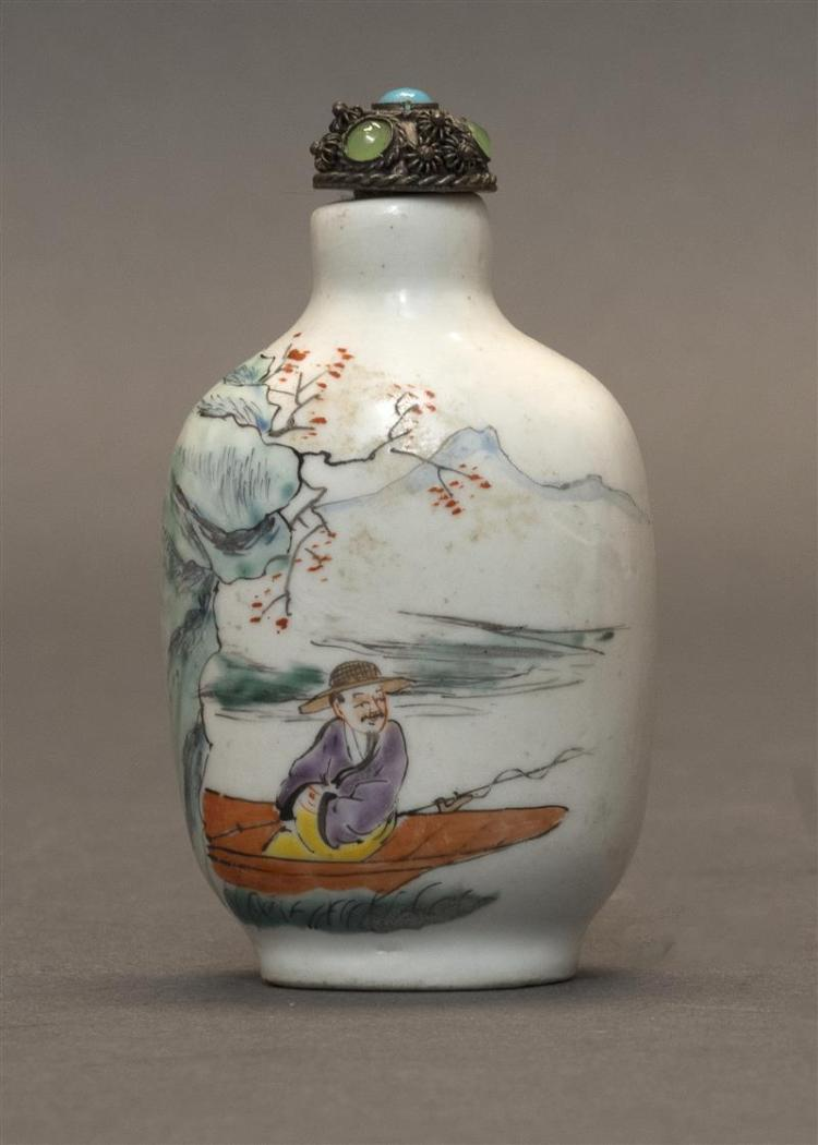 POLYCHROME PORCELAIN SNUFF BOTTLE In modified rectangular form with boatmen in a river landscape. Height 2.75