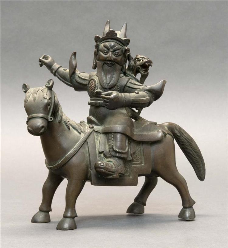 BRONZE FIGURE OF GENERAL GUAN YU ON HORSEBACK With a dragon on his back. Sans