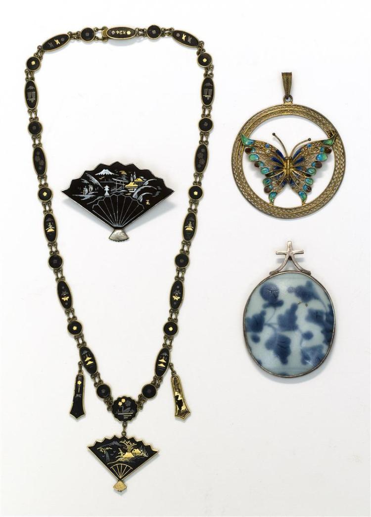 TWO PIECES OF DAMASCENE JEWELRY, A MING CHARD PENDANT, AND A FILIGREE BUTTERFLY PENDANT A 9