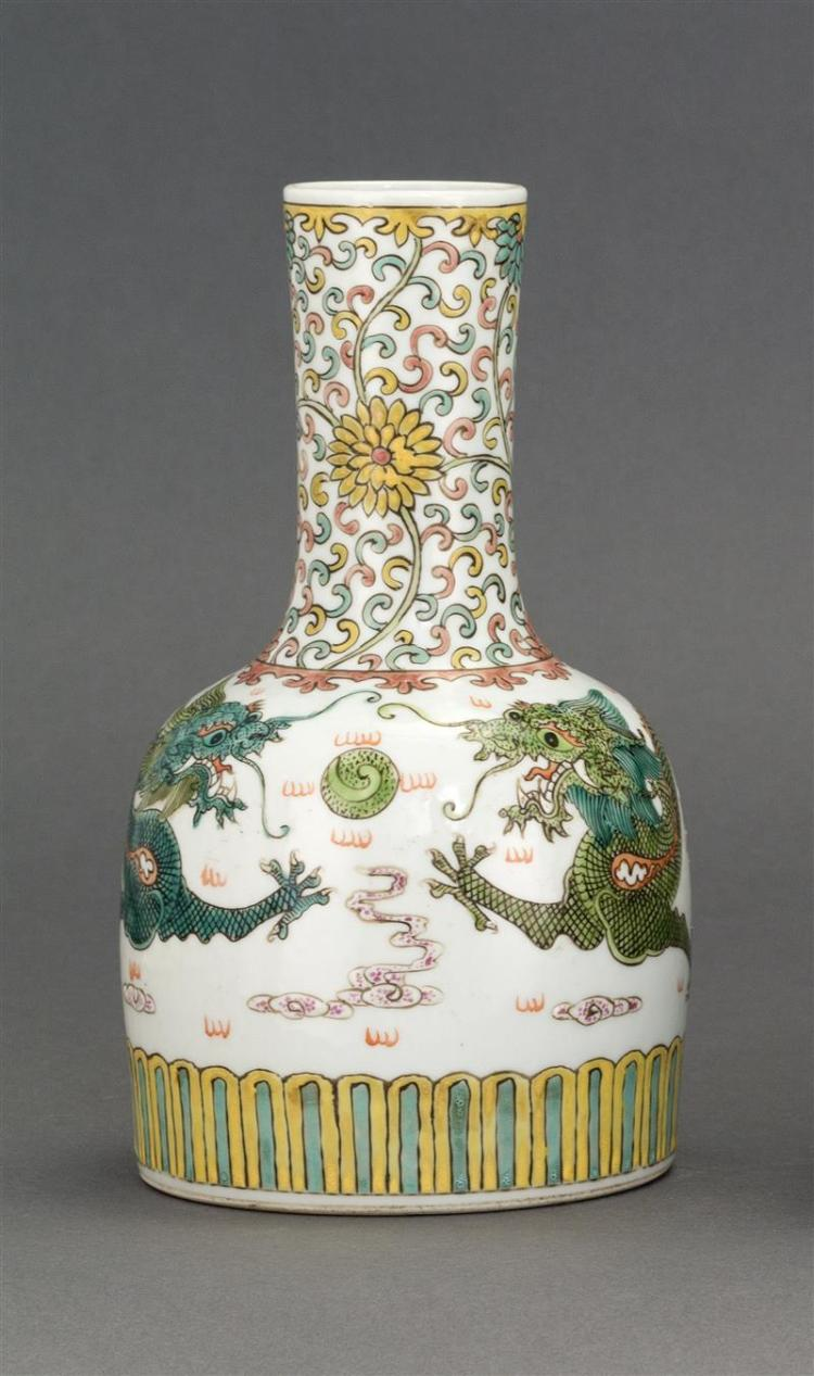 POLYCHROME PORCELAIN BOTTLE/VASE In mallet form with five-claw dragon design. Height 8.25