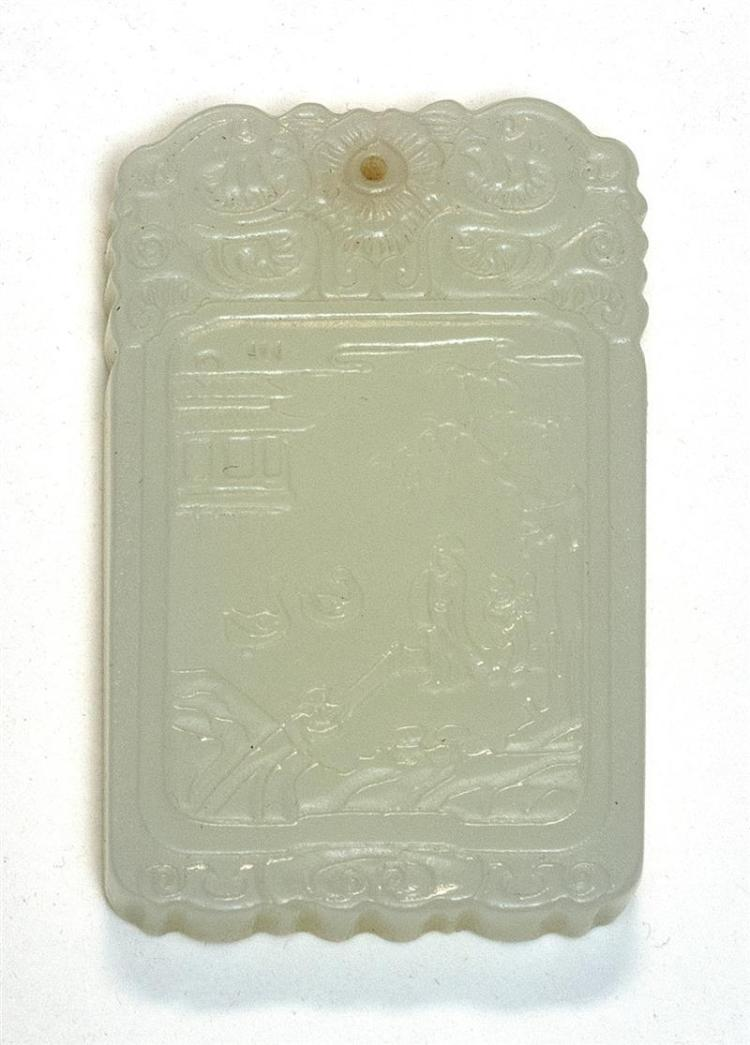 WHITE JADE PENDANT In rectangular form. With figural landscape carving on one face; calligraphy on reverse. Length 2.5