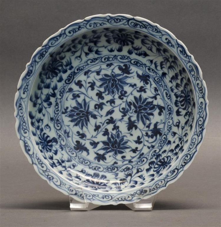 BLUE AND WHITE PORCELAIN SHALLOW BOWL With flower and vine design. Diameter 8.5