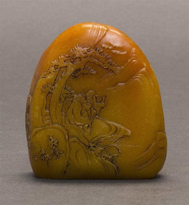 YELLOW SOAPSTONE MINIATURE MOUNTAIN With relief depiction of two sages beneath a pine tree. Some carved calligraphy. Height 2.5