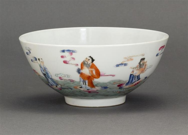 FAMILLE ROSE PORCELAIN BOWL With decoration of Immortals riding on clouds. Six-character Jiaqing mark on base. Diameter 7.2