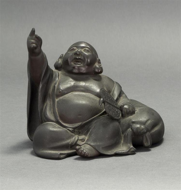 BRONZE FIGURE OF HOTEI Seated with his treasure sack while holding a fan. Length 7