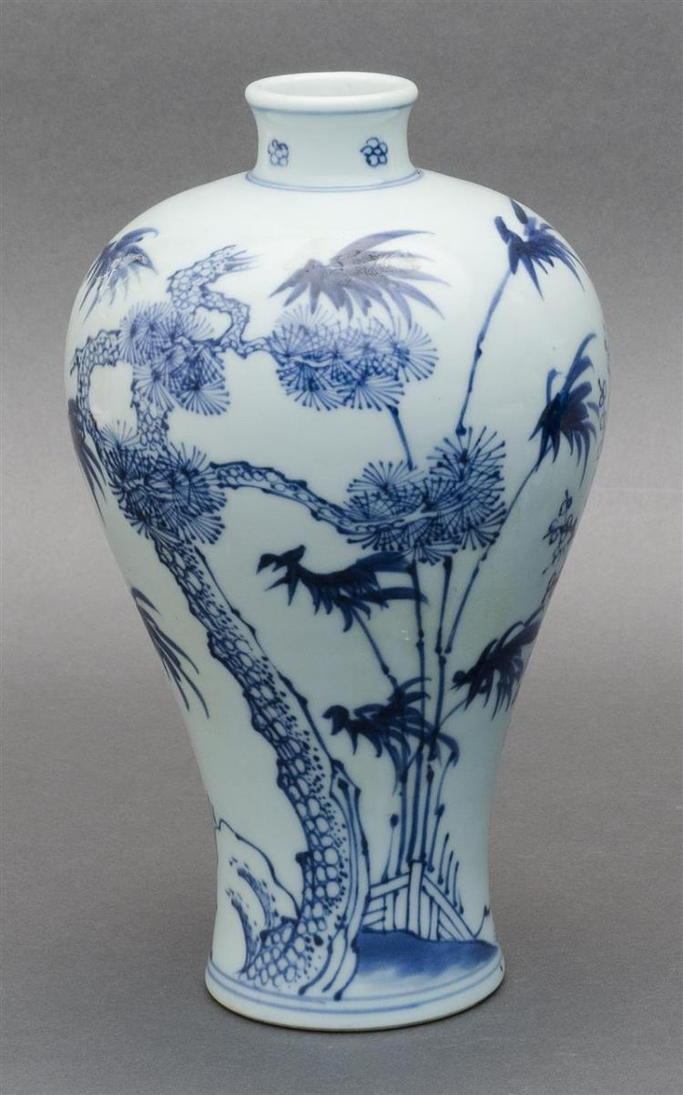 BLUE AND WHITE PORCELAIN VASE In meiping form with decoration of pine, prunus, and bamboo. Double ring mark on base. Height 9