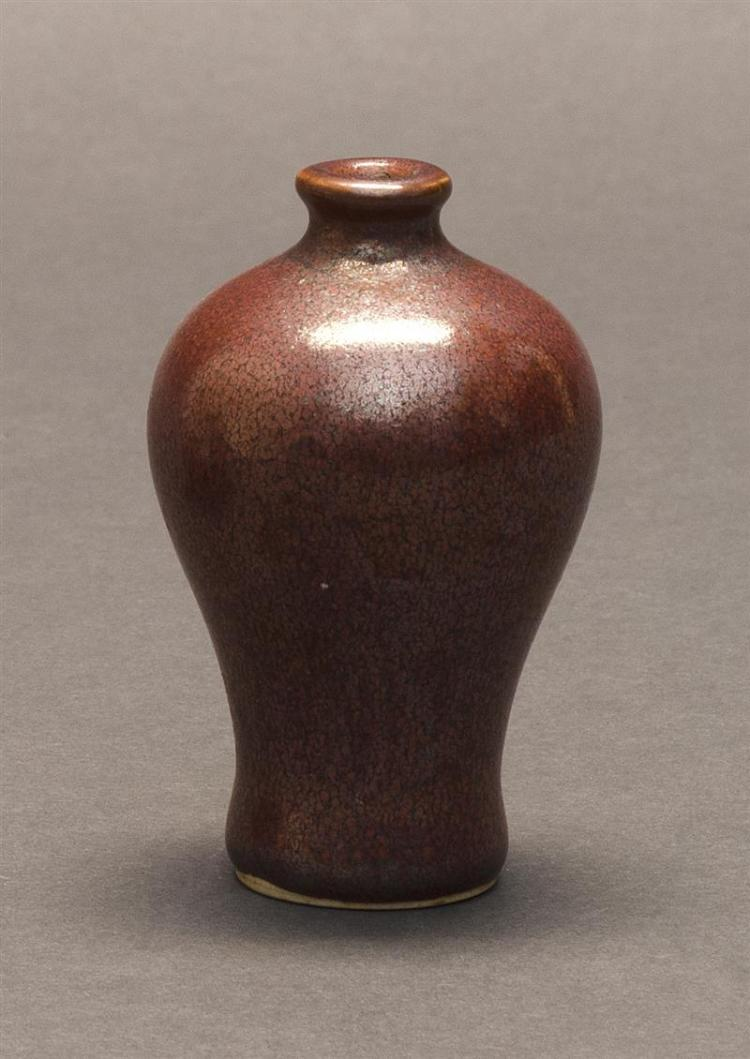 MINIATURE TEADUST GLAZE PORCELAIN VASE In meiping form with artemisia leaf mark on base. Height 2.8