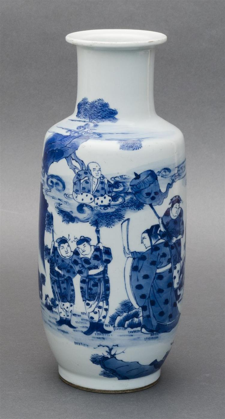 BLUE AND WHITE PORCELAIN VASE In rouleau form with figural landscape design. Double ring mark on base. Height 9.75