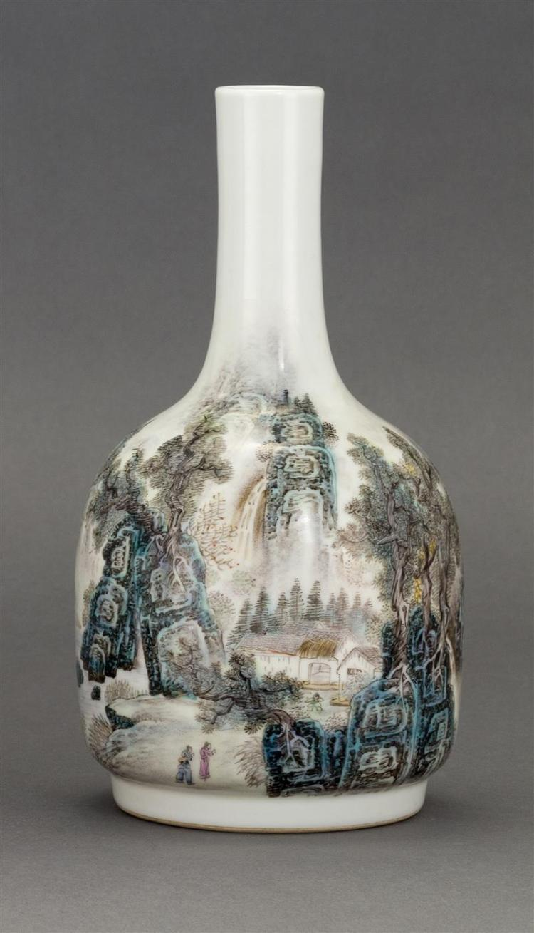 POLYCHROME PORCELAIN VASE In mallet form with figural landscape design highlighted with calligraphy. Six-character Qianlong mark on...