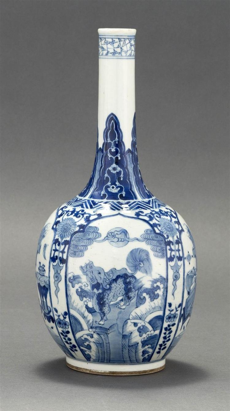 BLUE AND WHITE PORCELAIN BOTTLE/VASE In ovoid form with cylindrical neck. Decorated with qilin and bronze vessels. Six-character Kan...