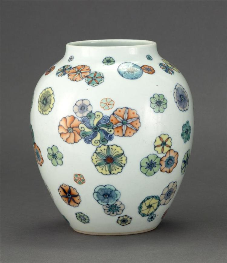 DOUCAI PORCELAIN VASE In ovoid form with floral rondel design. Height 7