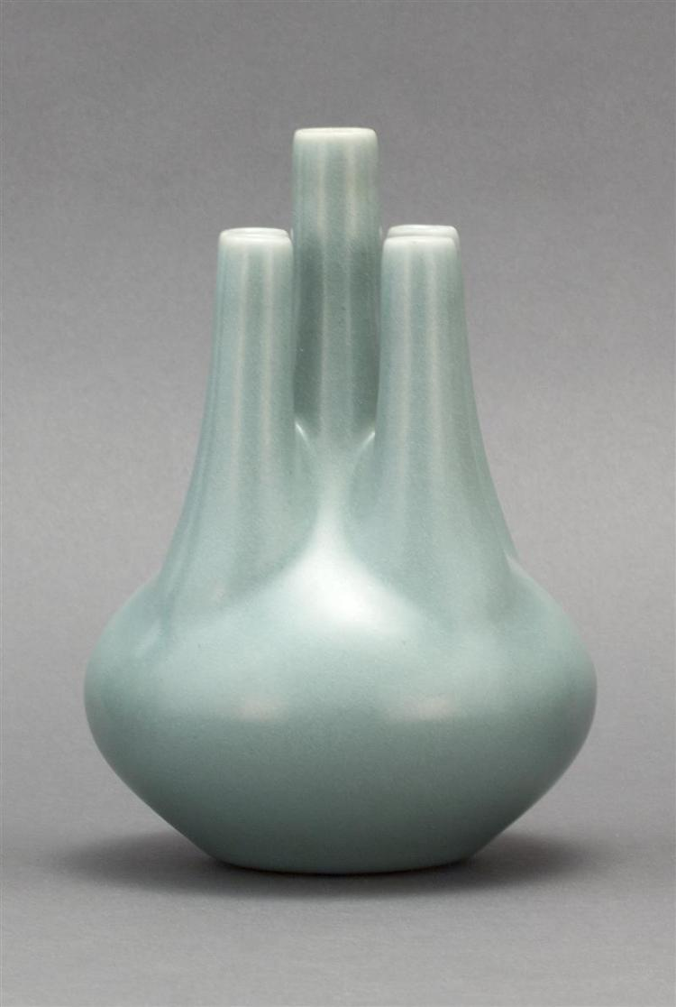 PORCELAIN FIVE-SPOUTED VASE With pale blue glaze. Six-character Yongzheng mark on base. Height 7.5