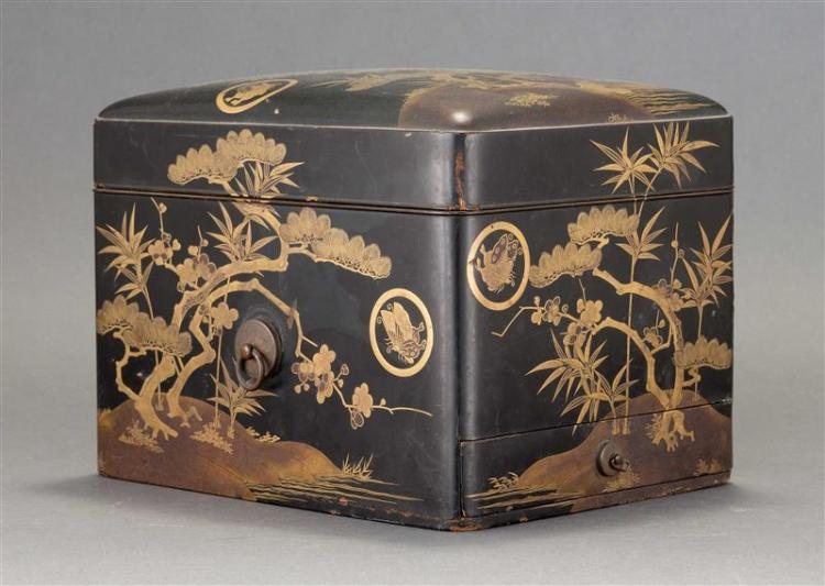 BLACK AND GOLD LACQUER ONE-DRAWER LIFT-TOP BOX With decoration of pine, prunus, and bamboo with butterfly mon. Height 8