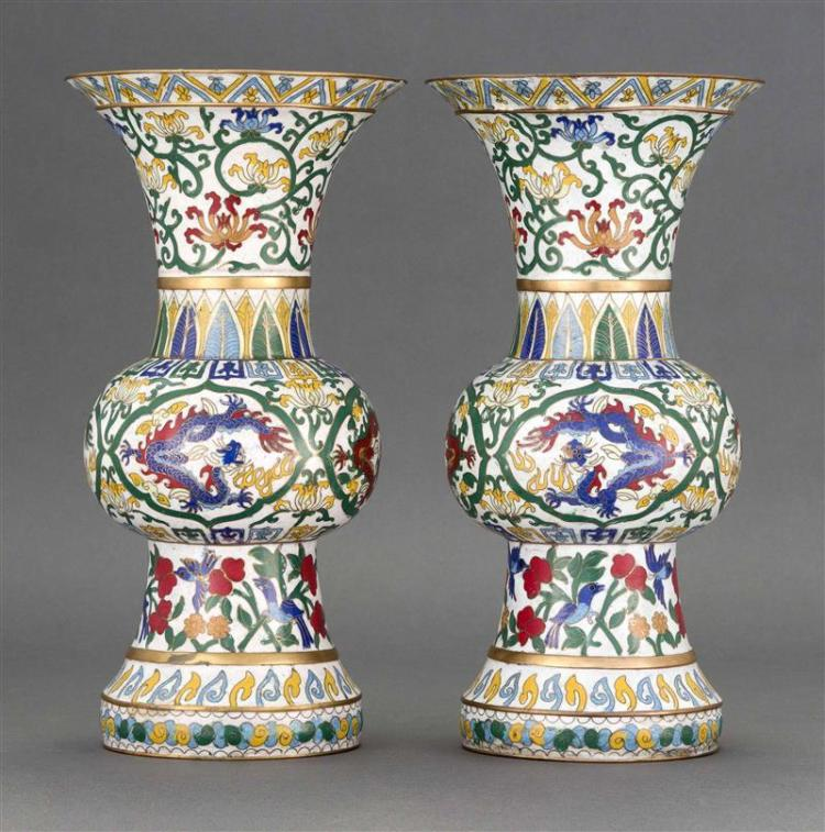 PAIR OF CLOISONNÉ ENAMEL VASES In trumpet form with dragon and flower design. Heights 12