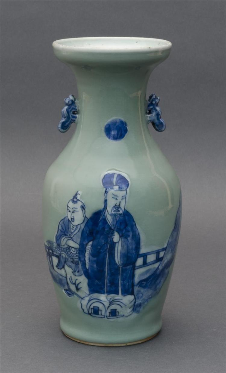 BLUE AND WHITE ON CELADON PORCELAIN VASE In baluster form with animalistic handles and figural landscape decoration. Height 10