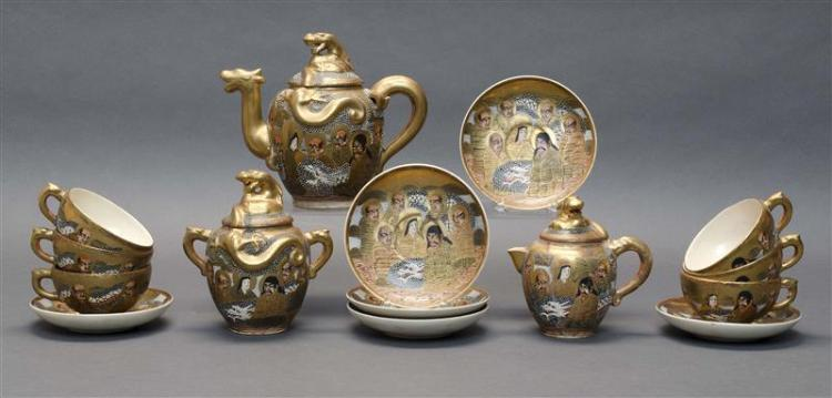 FIFTEEN-PIECE SATSUMA POTTERY TEA SET Consisting of six cups & saucers, teapot, covered sugar bowl, and creamer. All with lohan and...