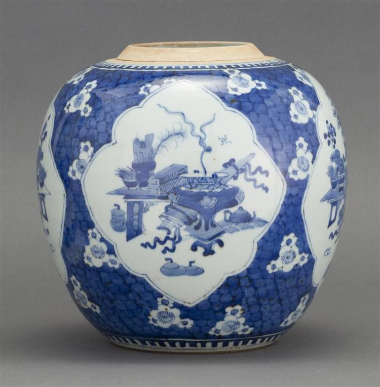 BLUE AND WHITE PORCELAIN JAR In ovoid form with cartouches depicting scholar''s items on a flower and cracked-ice ground. Height 8.5