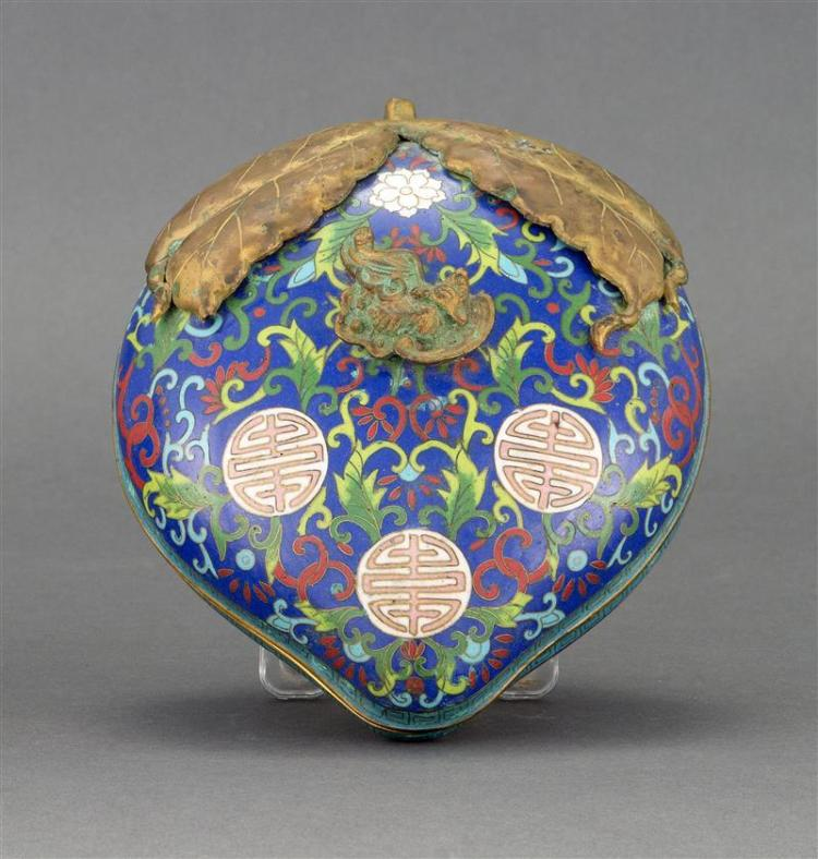 CLOISONNÉ ENAMEL COVERED BOX In peach form with relief bat and leaf embellishments. Body with flower and shou design on a blue groun...