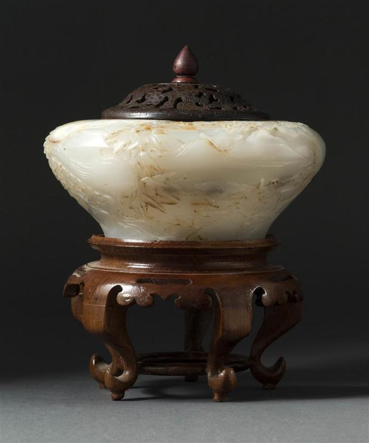 GRAY-WHITE JADE BOWL In squat ovoid form with relief figural landscape design. Diameter 6.5
