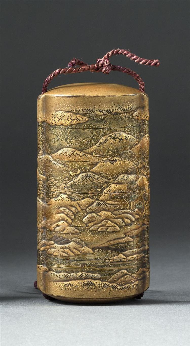 FIVE-CASE GOLD LACQUER INRO With mountain landscape design in high relief. Length 3.75