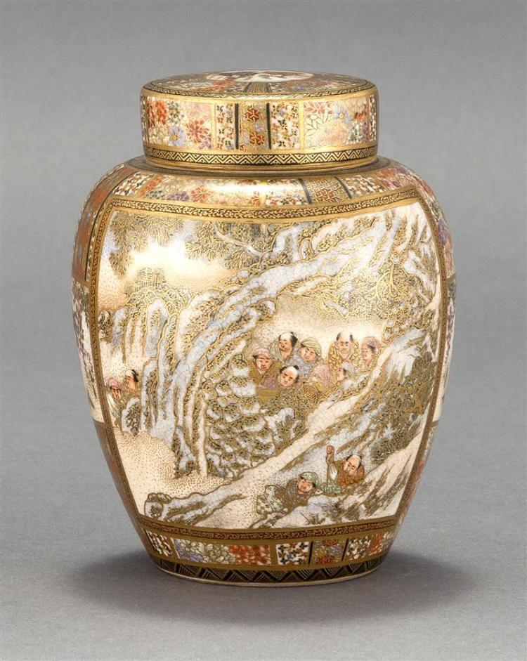 SATSUMA POTTERY COVERED JAR With figural landscape designs including snow scene and warriors on a brocade ground. Signed