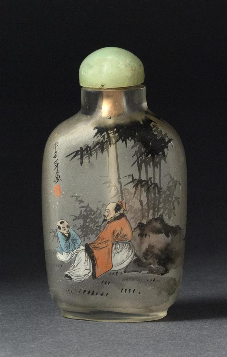 INTERIOR-PAINTED GLASS SNUFF BOTTLE In modified rectangular form with decoration of sages in a bamboo grove. Height 2.75