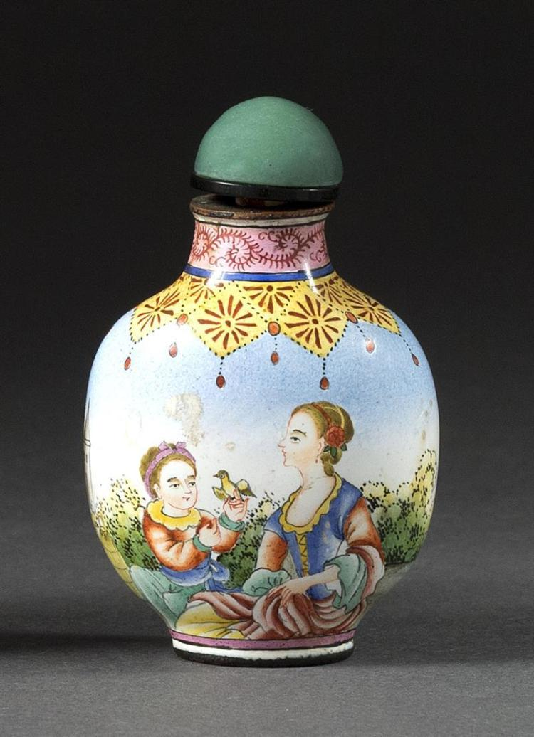 BEIJING ENAMEL SNUFF BOTTLE In ovoid form with Western figural landscape design. Four-character Qianlong mark on base. Height 2