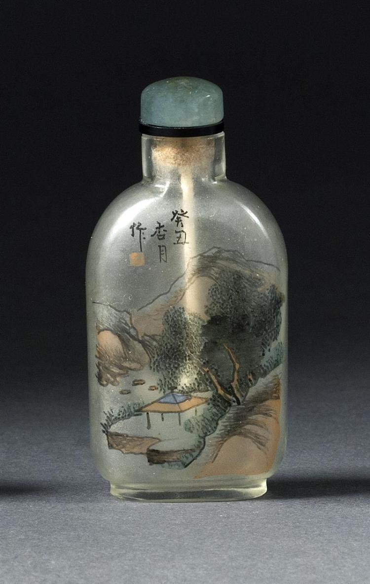 INTERIOR-PAINTED GLASS SNUFF BOTTLE In rectangular form. With bird and bamboo design on one face; landscape on reverse. Height 2.4