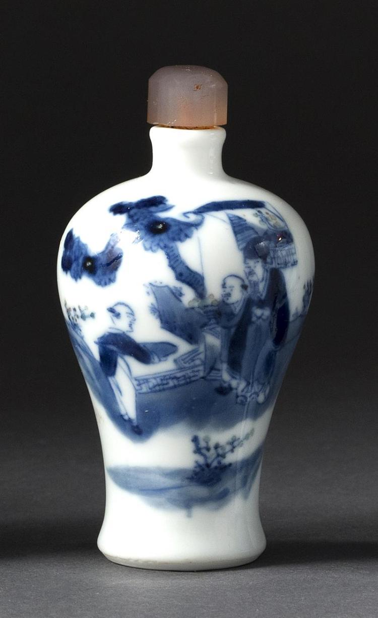 BLUE AND WHITE PORCELAIN SNUFF BOTTLE In meiping form with figural landscape design. Four-character Qianlong mark on base. Height 3