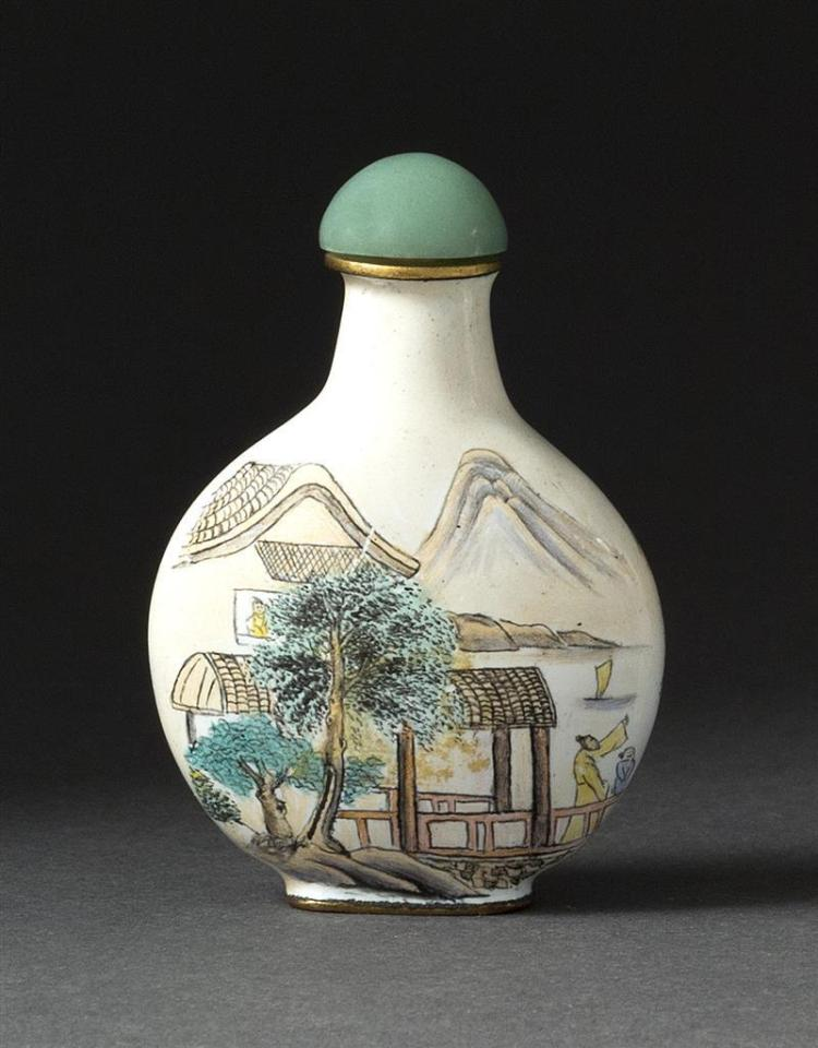 BEIJING ENAMEL SNUFF BOTTLE In pear shape with figural landscape design. Height 2.2