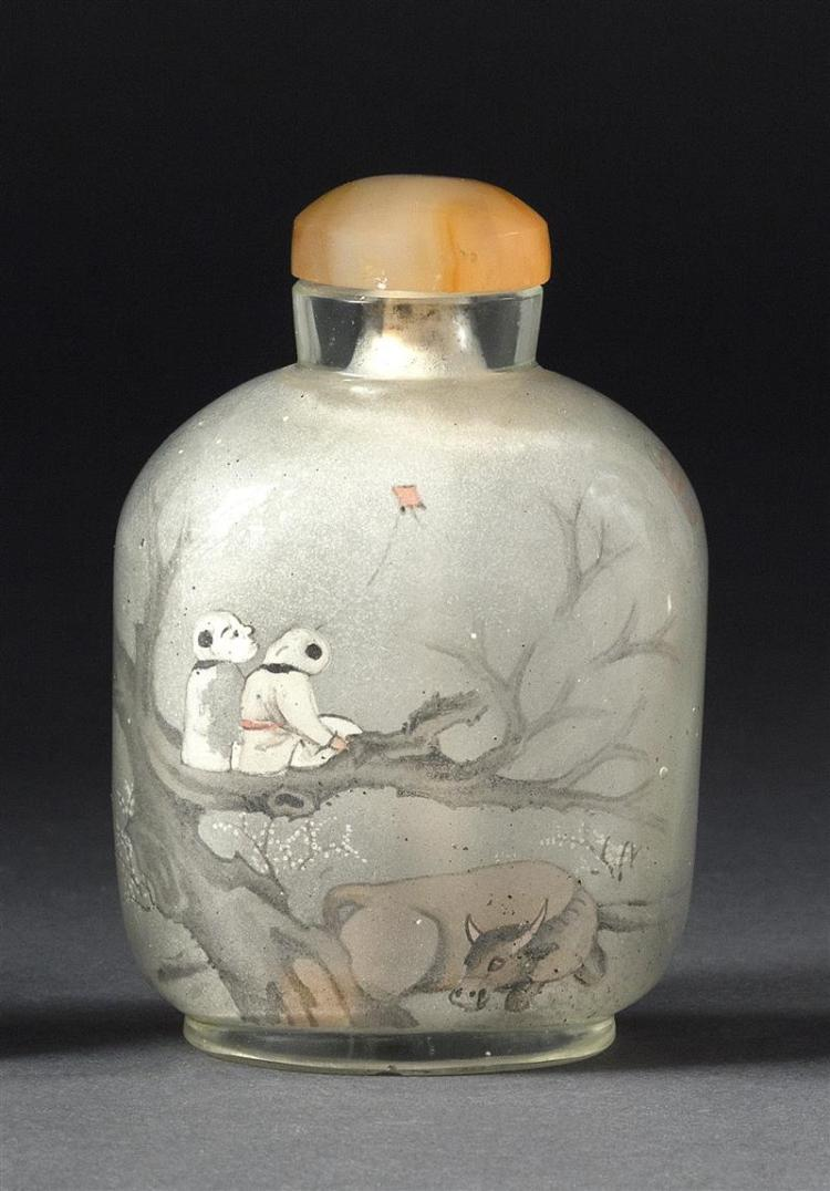 INTERIOR-PAINTED GLASS SNUFF BOTTLE In ovoid form. Decorated on one face with herdboys and water buffalo; on reverse with tea kettle...