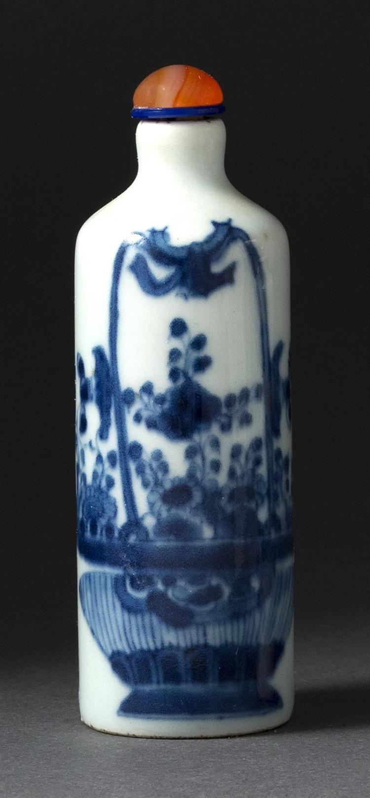 .UNDERGLAZE BLUE PORCELAIN SNUFF BOTTLE In cylinder form with flower basket design. Artemisia leaf mark on base. Height 3.5