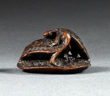 WOOD NETSUKE By Gyokumin. In the form of three turtles climbing on each other. Signed. Length 1.4