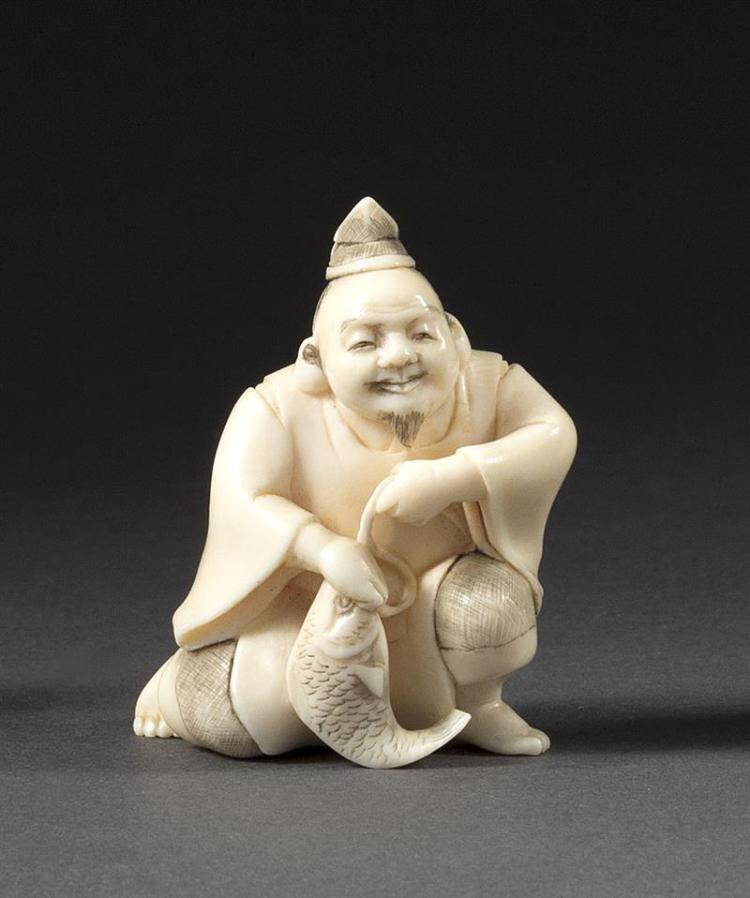 IVORY OKIMONO In the form of Ebisu kneeling while holding a fish. Height 1.75