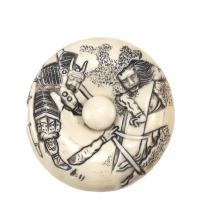 IVORY MANJU By Ikkosai. Depicting two battling samurai. Diameter 2