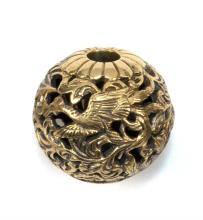 GOLD OJIME With bird and flower design. Signed