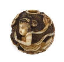 IVORY OJIME In ball form with apsara design. Diameter .75