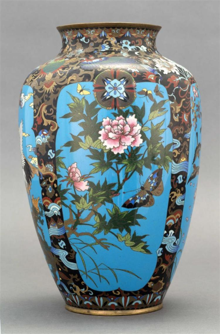 CLOISONNÉ ENAMEL VASE In ovoid form. With alternating panels of bird, butterfly, flower, and Mount Fuji decoration on turquoise cart...