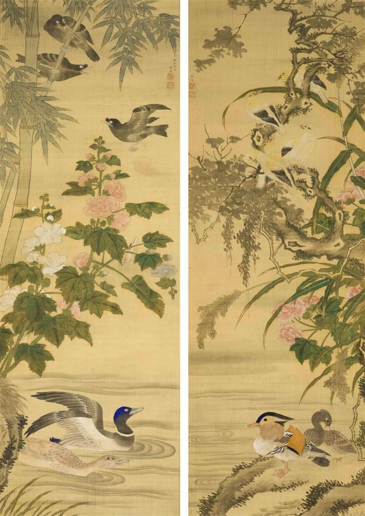 TWO SCROLL PAINTINGS ON SILK Both featuring ducks and songbirds at the river''s edge; one with bamboo and peony, the other with catta..