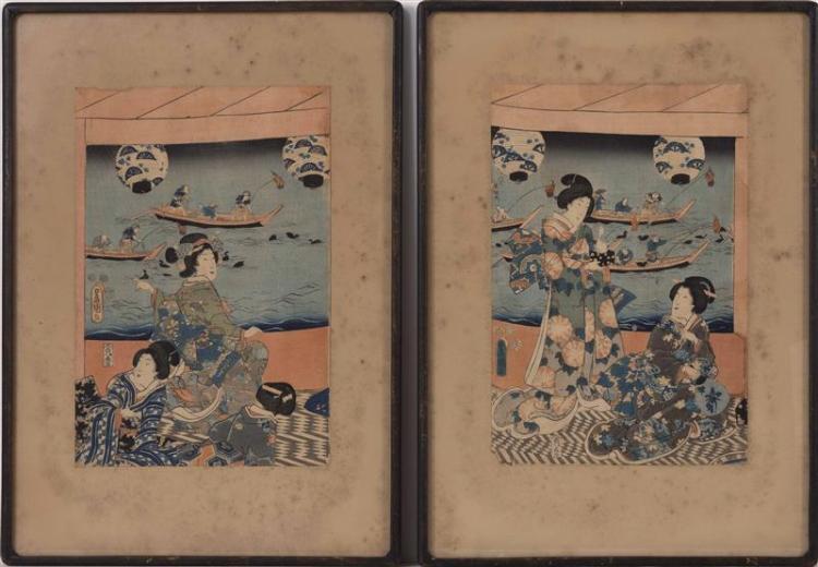 TOYOKUNI From a triptych. Ladies under a lantern on a veranda watching boatmen and ducks. Framed.