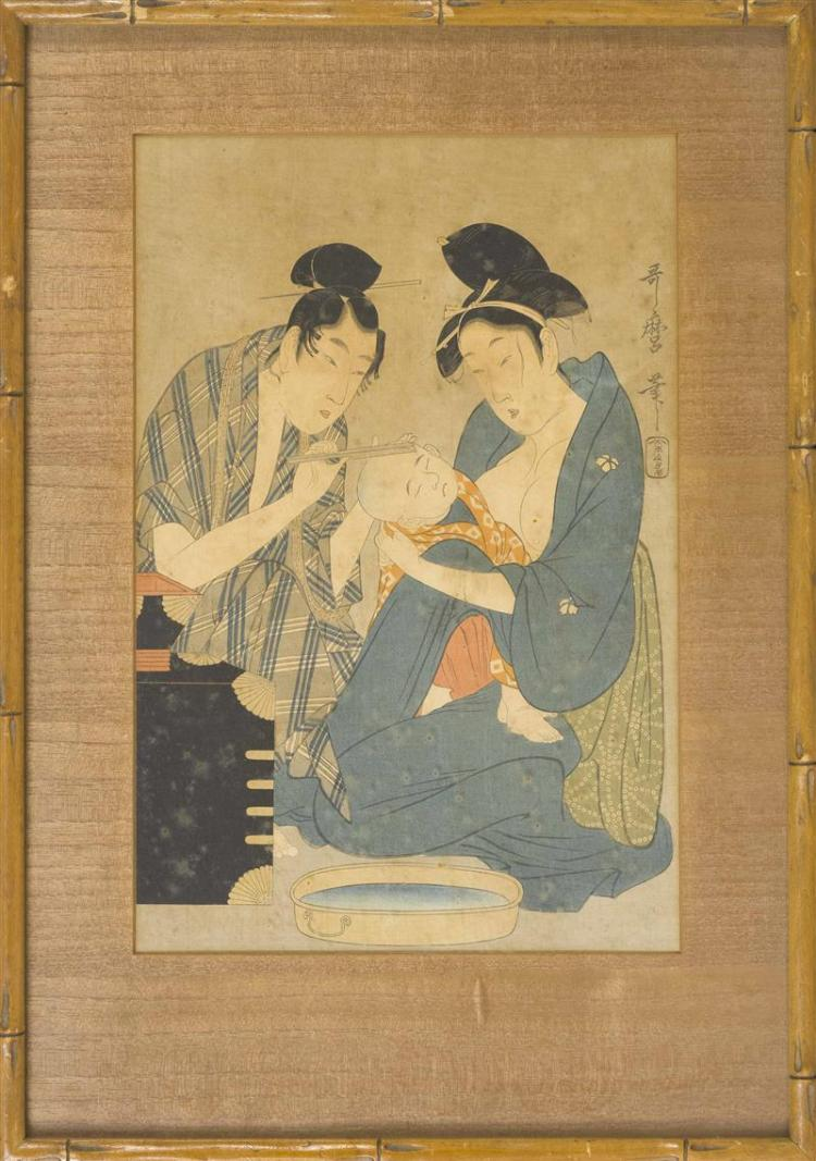 UTAMARO Father, mother, and child. 14