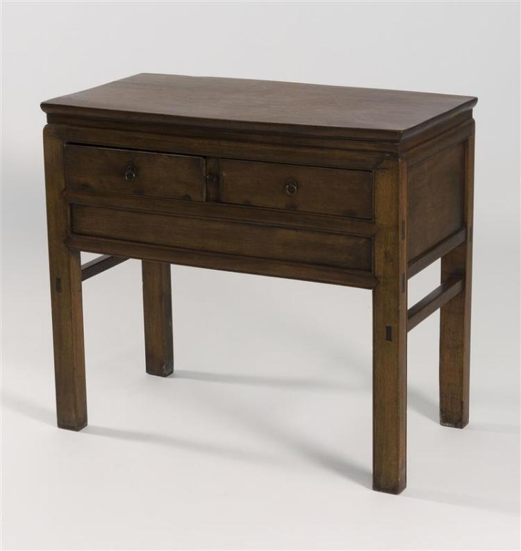 FRUITWOOD COMMODE The rectangular top above two short drawers and a deep apron. On block legs joined by short stretchers. Height 34....