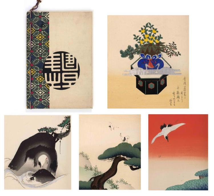 WOODBLOCK-PRINTED BOOK Twenty prints depicting various scenes of cranes. Some with metallic ink.