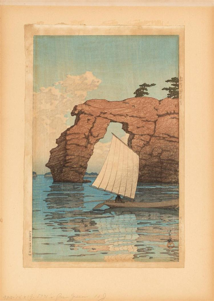 KAWASE HASUI Depicting a sailboat with distant cliffs. Publisher''s seal in margin.