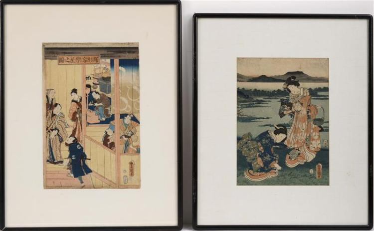 TOYOKUNI III Ladies gathering grasses. Figures outside a wig makers. Framed.