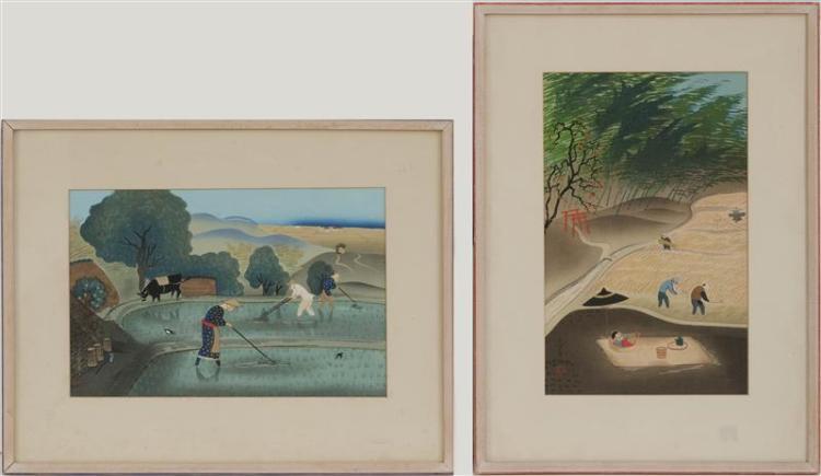 BAFUKU OHNO Harvest scenes. Framed.